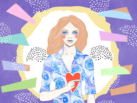 elegant woman: Young pretty woman holding red heart in her hands. Concept design of a female character with a red heart in his hands. Hand drawn illustration. Declaration of love. For banner, card, website, poster.