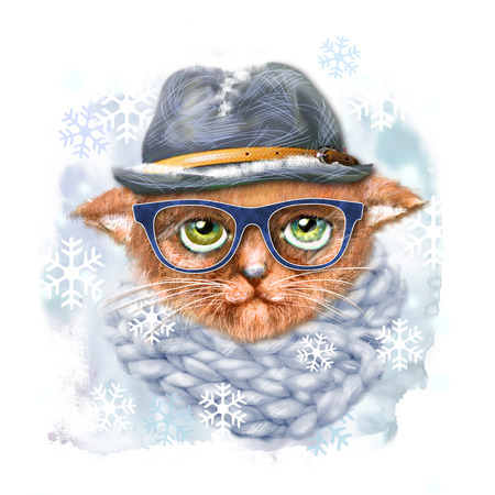 Hand drawn portrait of Cat with glasses, hat and scarf. Fashion portrait of hipster cat. Hand drawn illustration for greeting card, poster, or print on clothes. T-shirt print cat, isolated cat. Stock Photo
