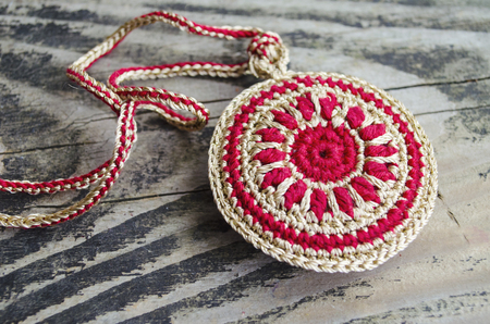 Handmade Accessories In Ethnic Style On Wooden Table Crochet