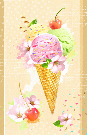 Wafer cone ice cream with cherry and flowers. Rainbow delicious ice-cream. Summer time concept. Design for flyer, poster, banner, card