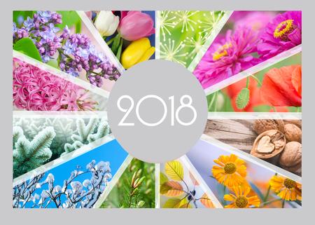 Calendario stagionale per il 2018 anno. Collage creativo Calendario trimestrale del ragioniere. Archivio Fotografico