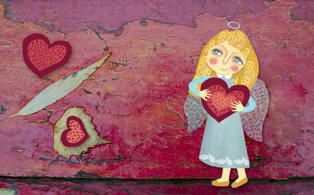 Cute little angel with heart on a grunge red wooden painted background. Image drawn by hand. St. Valentine day theme.