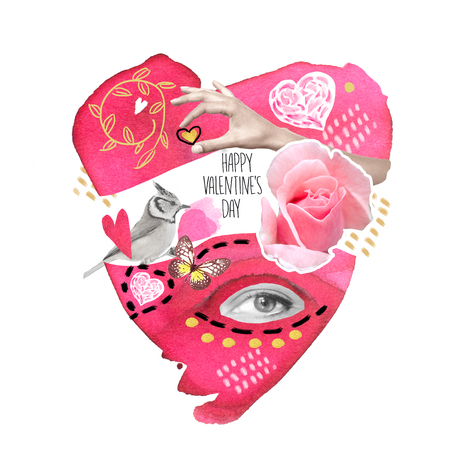 Collage print to Valentines Day with elements of watercolor, black and white photos,. Stock Photo