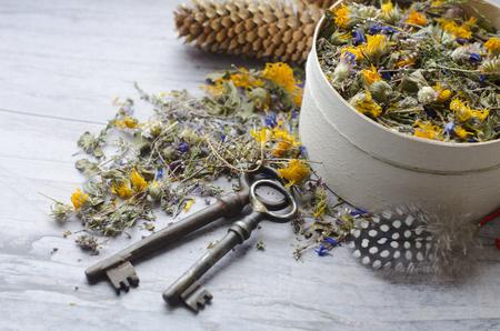 Herbal tea with ivan-tea, cornflower, calendula, heather and thyme. The key to health and longevity. Clay Bird is a whistle.