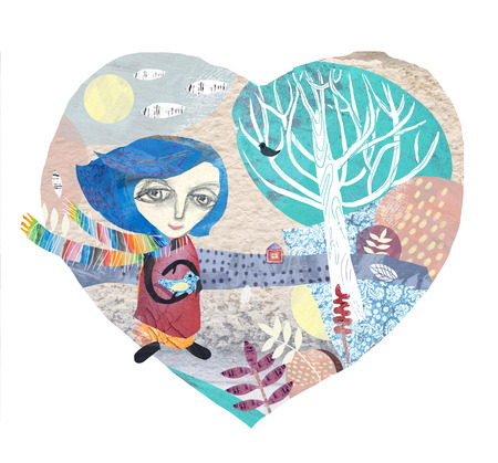 Heart-shaped composition with trees, clouds, bushes and plants. A girl wearing a colorful scarf holds a bird. An authors technique of collage using various shabby paintings of textures.