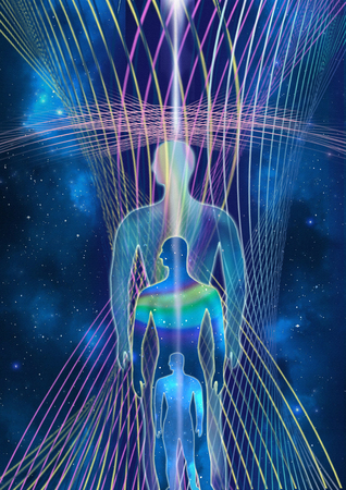 Consciousness evolution - abstract illustration. Human with universe on space star and energy fields background.