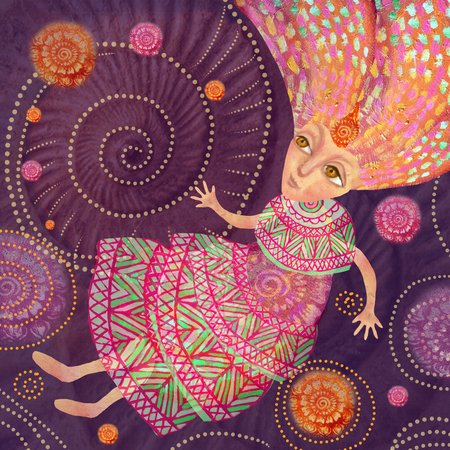 A girl from a fairy tale in an ethnic dress flies in fantastic spheres. Dreamer. Illustration for use in the subject line dancing mandala, energy practices, Mental Immersion Coaching