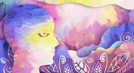Abstract background illustration with paint strokes, human face, mountans and plants Stock Photo