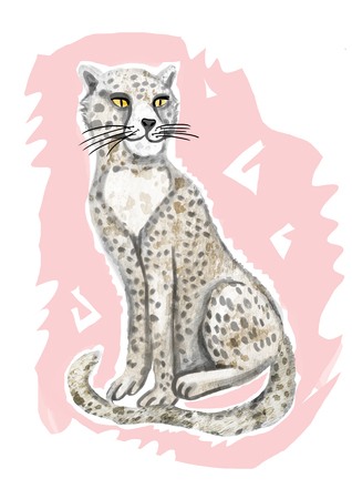 The cheetah is painted in a raster. Isolated picture on a light pink circle.