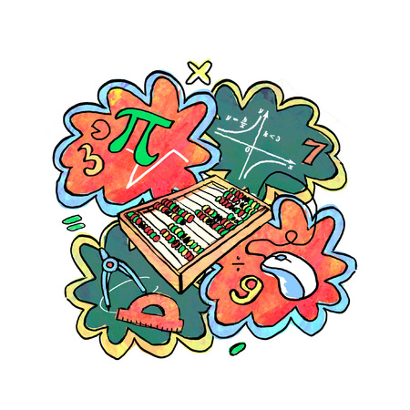 Collage in cartoon style on the theme of mathematics. Isolated composition on a white background. Illustration - sticker, print.