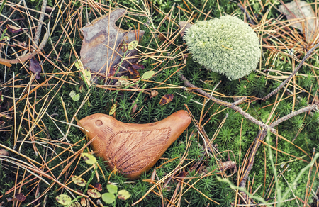 Ceramic bird is a whistle made of red clay handmade. Moss sphagnum is a blossoming floral texture.