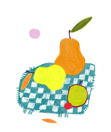 Decorative still life with pears, apple and plum. Illustration in naive style.