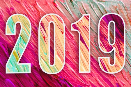 2019new year banner. Happy new year 2019 decoration poster card. Vintage abstract colorful poster Stock Photo