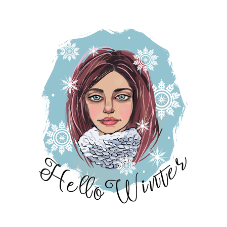 Portrait of a girl in snowflakes and a scarf. Illustration hello winter. Banque d'images - 111768755