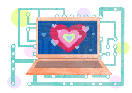 Laptop with heart on the screen against the background of abstract electronic board chains illustration.Valentines day concept