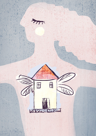 Illustration of a house with wings inside a girl. Metaphor is my home where I am. Stock Photo