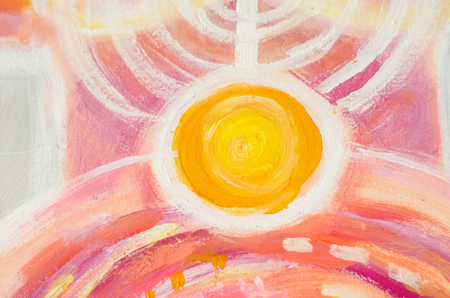 Abstract painting of sun, beautiful colorful light on canvas. Modern Impressionism. Illustration of bright shining sun. Stroke painting sun. 版權商用圖片