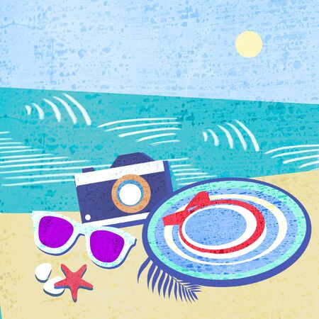 Sea in abstract style on colorful background. Summer tropical banner design. Hat with starfishes, sunglasses and camera on a sea shore. Summer accessories.