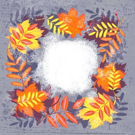 Autumn composition. Wreath design template print with autumn leaves. Can used for summer and autumn decoration, invitations, congratulations, sales Stok Fotoğraf
