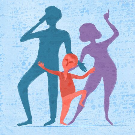Family mom, dad and baby. Illustration about parenting, parent-child relationships. Standard-Bild - 130726591