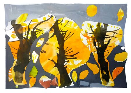 Wood made of paper applique, collage Watercolor autumn Stock fotó