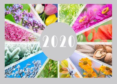 Saisonkalender für das Jahr 2020. Kreative Collage. Vierteljährlicher Kalender des Buchhalters.