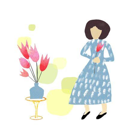 Woman with tulip in blue dress. Hello spring illustration.Flat illustration Banco de Imagens
