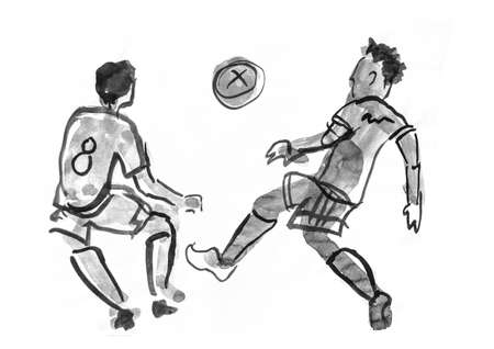 Silhouettes of football players on a white background. Illustration of a sports sketch. Imagens