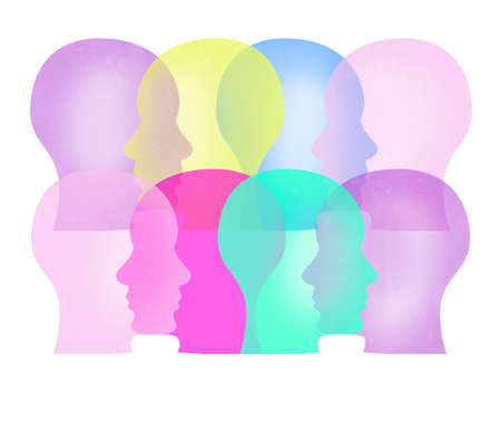 Colored silhouettes of the human profile. Social relations and mental health.