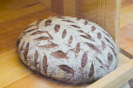 Live sourdough bread with a pattern of bran. Photo of healthy food Imagens