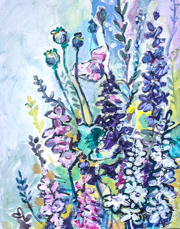 Delphinium white pink purple flowers. Acrylic painting on canvas.