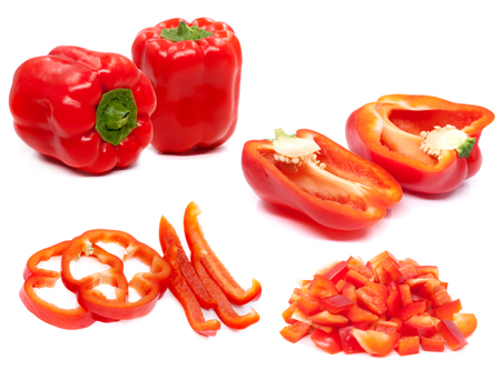 Fresh juicy peppers isolated on a white background.