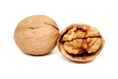 Walnuts isolated on white   background,