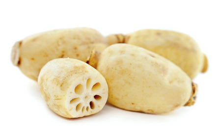 Lotus root on the white background Stock Photo