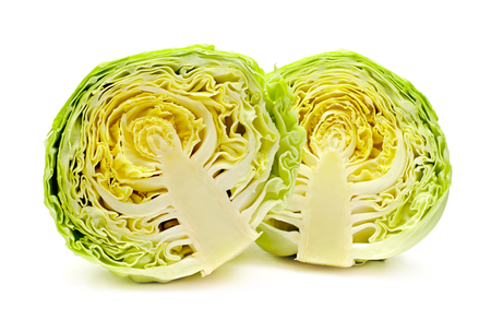 Cut cabbage on white background  background,