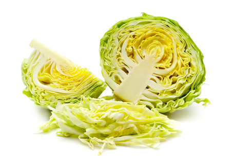 Cut cabbage on white background