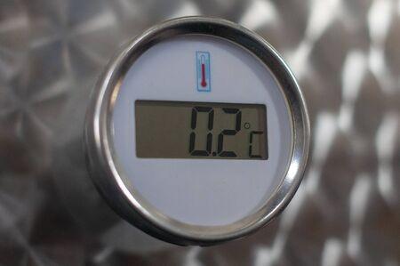 Circle thermometer measure on metal Archivio Fotografico