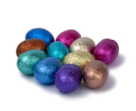 chocolate easter eggs isolated on the white
