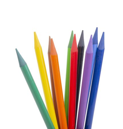 multicolor pencils isolated on the white Imagens