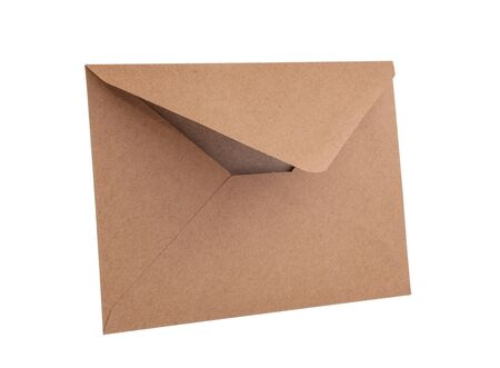 Empty brown vintage paper envelope isolated on the white Stock Photo