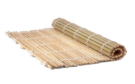 Bamboo mat wooden isolated on the white background