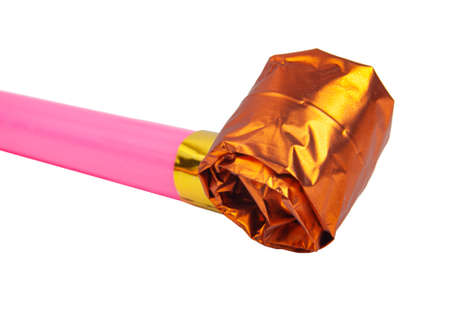 Party pink foil noisemaker or whistle isolated on the white