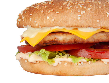 Tasty american grill burger isolated on the white