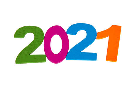 New 2021 year numbers multicolor isolated on the white