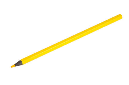 Yellow color pencil isolated on the white