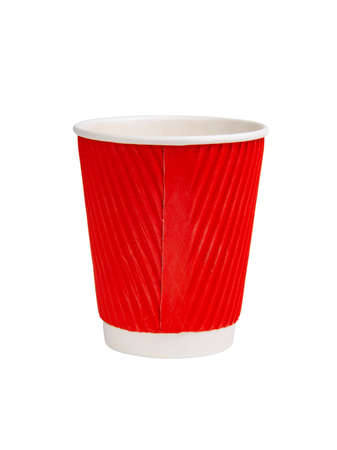 Red paper corrugated cup for coffee isolated on the white background