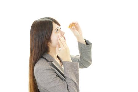 eyestrain: Woman with an eyestrain Stock Photo