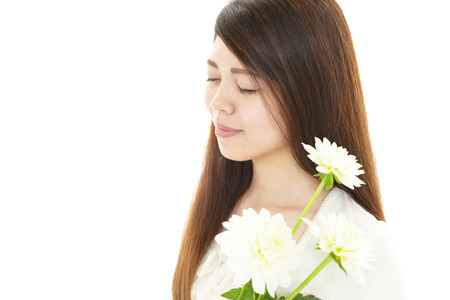 Woman with beautiful flower photo