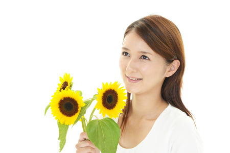 woman with sun flower photo
