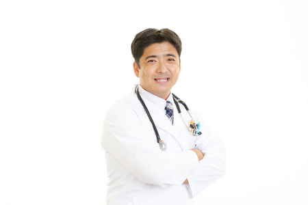 Portrait male doctor isolated on white background photo